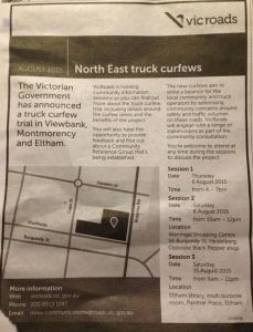Vic Roads Consultation August 2015